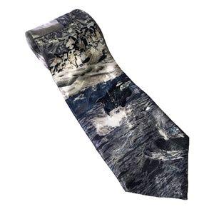 Lost kingdom orca and penguin iceberg theme tie